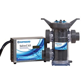 a black Hayward saltwater chlorine generator for a swimming pool