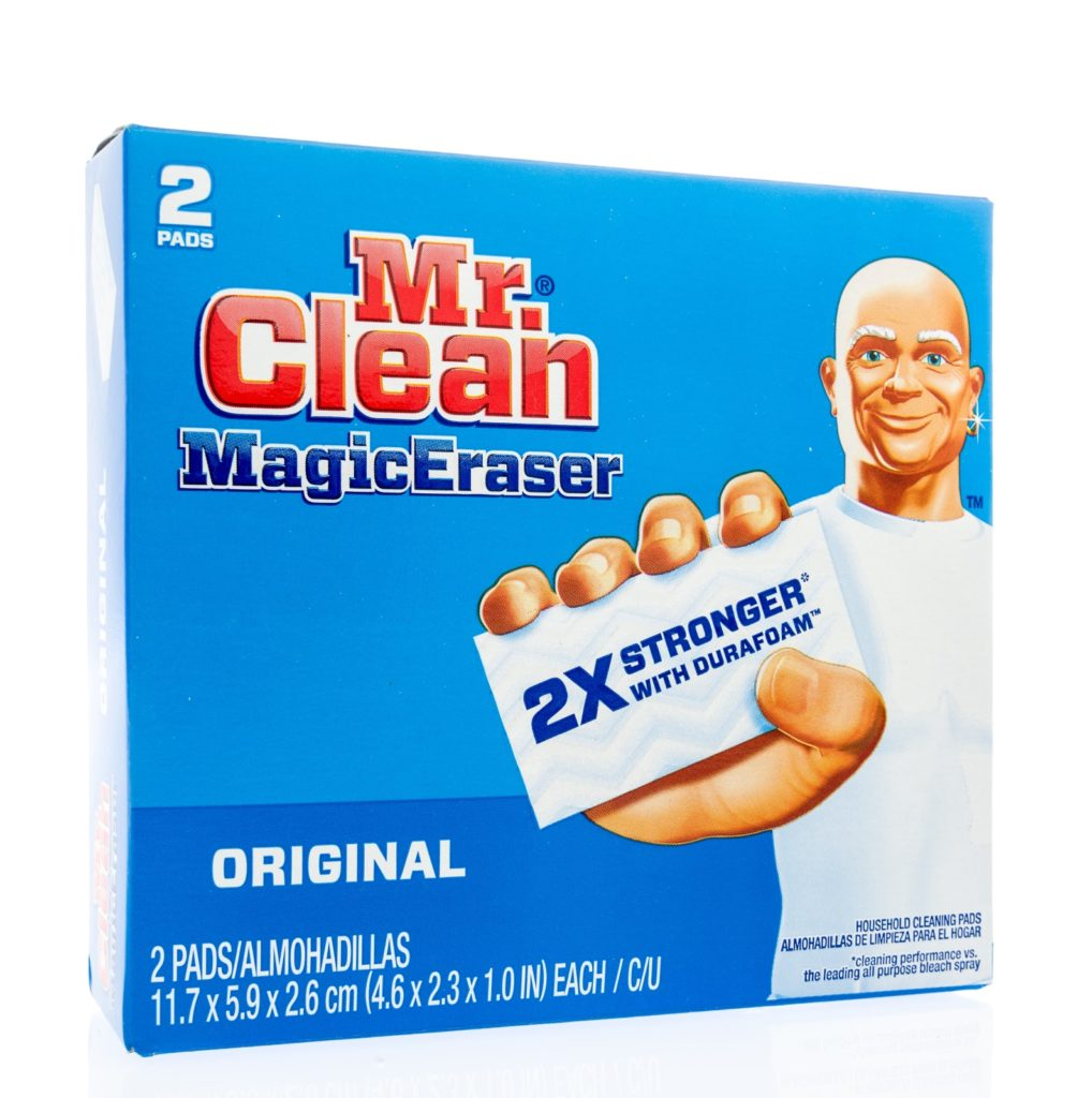 a box of two Mr. Clean magic erasers with Mr. Clean on the front holding a magic eraser